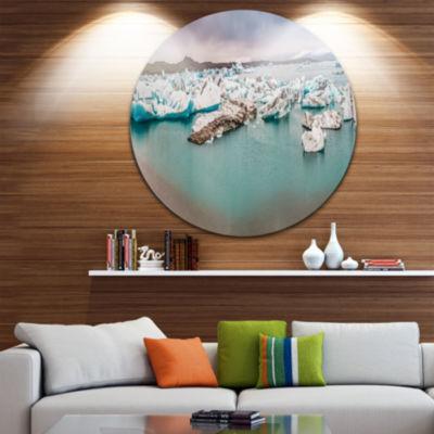Design Art Lake Full of Icebergs Panorama Landscape Metal Circle Wall Art