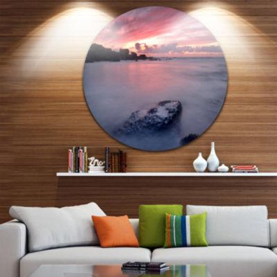 Design Art Rocks Dark Samarra Seashore Sintra Seashore Metal Circle Wall Art
