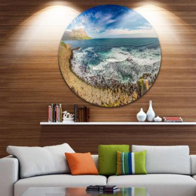 Design Art Arctic Sea and Coastline Panorama ExtraLarge Seashore Metal Circle Wall Art