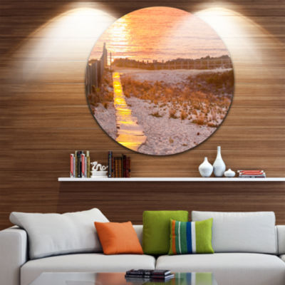 Design Art Yellowish Boardwalk into Seashore Bridge Metal Circle Wall Art