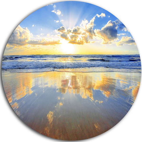 Design Art Blue Sky and Clouds Mirrored in Sea Seashore Metal Circle Wall Art