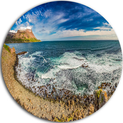 Design Art Arctic Sea and Coastline Panorama ExtraLarge Seashore Metal Circle Wall Art