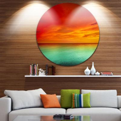 Design Art Artist Blue Red Sunset Seashore Metal Circle Wall Art