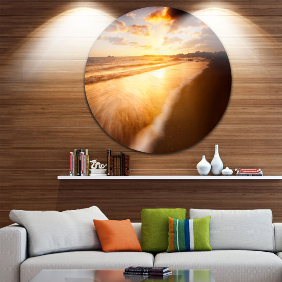 Design Art Amazing Sunrise Over Australian Beach Seashore Metal Circle Wall Art