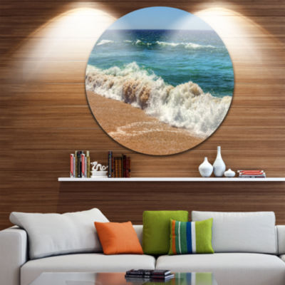 Design Art Atlantic Beach with Foaming Waves ExtraLarge Seascape Metal Wall Decor