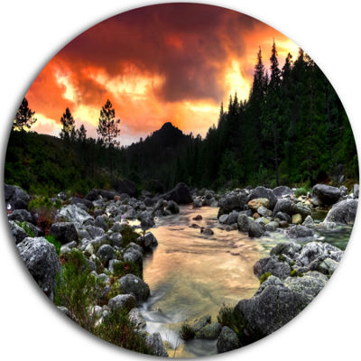Design Art Rocky Mountain River at Sunset Extra Large Wall Art Landscape