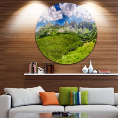 Design Art Green Tatras Mountains Panorama Landscape Metal Circle Wall Art
