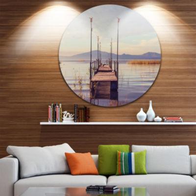 Design Art Wooden Boardwalk to Clear Sea Water Bridge Metal Circle Wall Art