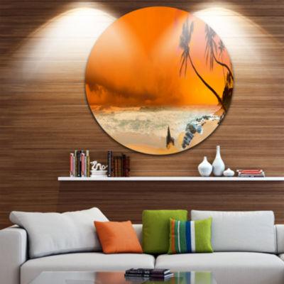 Design Art Typical Evening Seashore Panorama ExtraLarge Seashore Metal Circle Wall Art