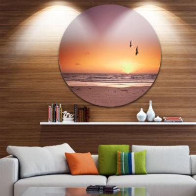 Design Art Beach Sunset and Sea Gulls Seashore Metal Circle Wall Art