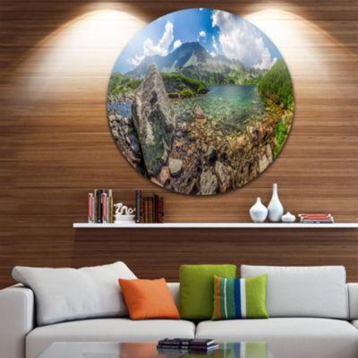 Design Art Amazing Pond in Tatra Mountains Extra Large Seashore Metal Circle Wall Art