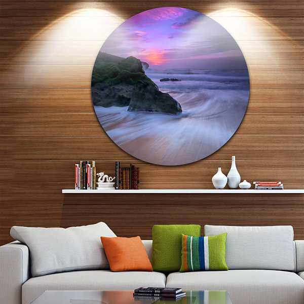 Design Art Slow Motion Waves on Winch Beach Seashore Metal Circle Wall Art