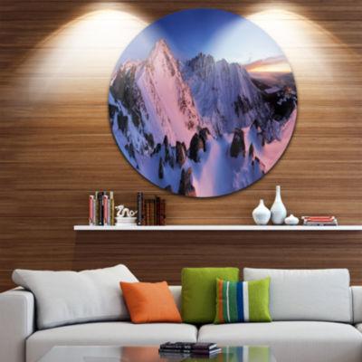 Design Art Slovakia Tatras Winter Mountains Landscape Metal Circle Wall Art