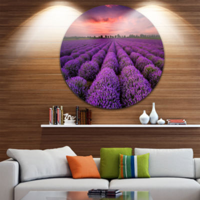 Design Art Red Sunset Over Lavender Field Extra Large Wall Art Landscape