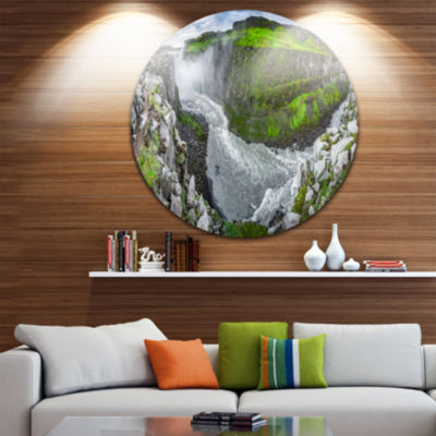 Design Art Green Mountains with Waterfall Landscape Print Wall Artwork