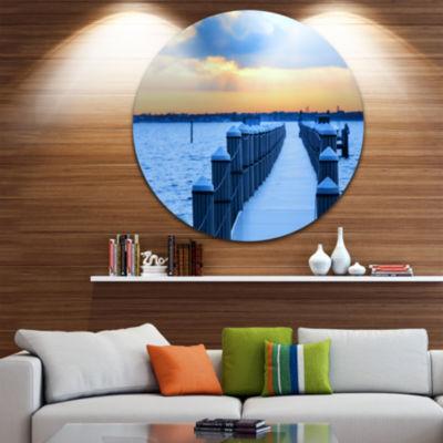 Design Art Fantastic Blue Boardwalk and Seashore Bridge Metal Circle Wall Art