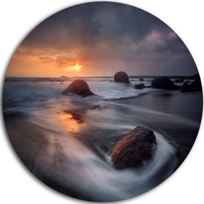 Design Art Sunrise in Burgas Bay near Atia Seashore Metal Circle Wall Art