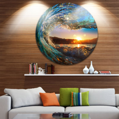 Design Art Colored Ocean Waves Falling Down Seashore Metal Circle Wall Art