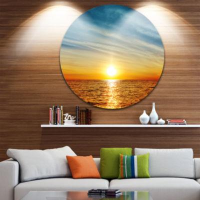 Design Art Brilliant Texture of Sea Currents Oversized Beach Metal Circle Wall Art