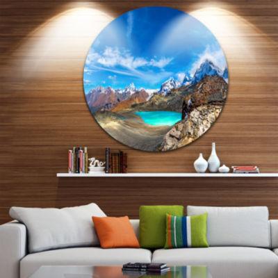Design Art Enchanting Swiss Alps Mountains Landscape Metal Circle Wall Art