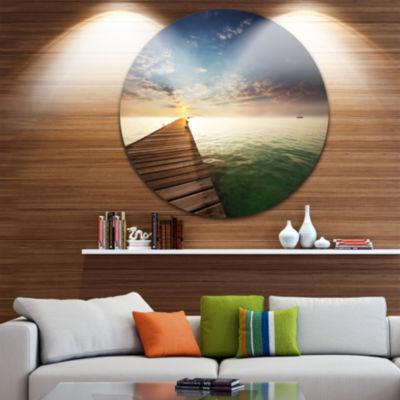 Design Art Wooden Boardwalk into Indefinite Sea Bridge Metal Circle Wall Art