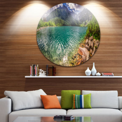 Design Art Lake in Tatra Mountains Poland Extra Large Seashore Metal Circle Wall Art