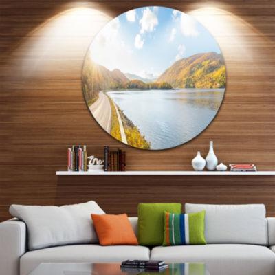 Design Art Stunning Autumn Mountains Canada Landscape Metal Circle Wall Art