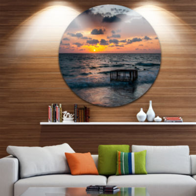 Design Art Tropical Beach with Empty Cage Extra Large Seashore Metal Circle Wall Art