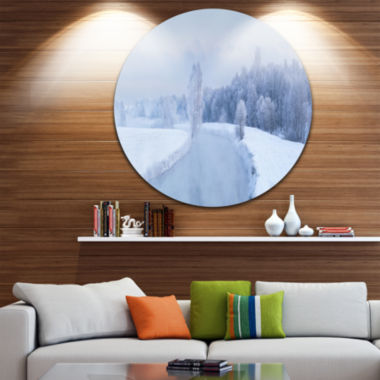 Design Art Blue Frosty Winter Weather Panorama Landscape Print Wall Artwork