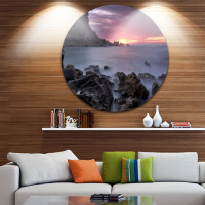 Design Art Sunset at Samarra Seashore Sintra Seashore Metal Circle Wall Art