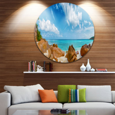Design Art Rocky Seychelles Island Panorama Oversized Beach Metal Circle Wall Art