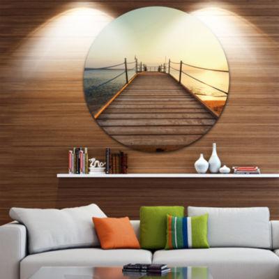 Design Art Strong Wooden Boardwalk into Sea BridgeMetal Circle Wall Art