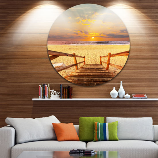 Design Art Brown Wooden Boardwalk into Beach Bridge Metal Circle Wall Art