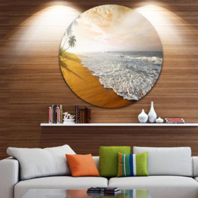 Design Art Wavy Clouds over Seashore Extra Large Seascape Metal Wall Decor