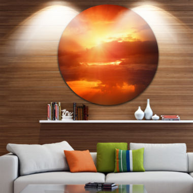 Design Art Yellow Sunset above Clouds Oversized Beach Metal Circle Wall Art