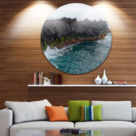 Design Art Rocky Coast with Moss in Azores Extra Large Seashore Metal Circle Wall Art