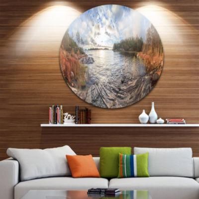Design Art Rocky Coast of Autumn Lake Extra LargeSeashore Metal Circle Wall Art