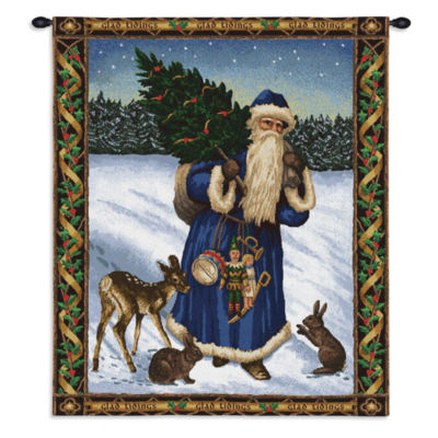Father Christmas Blue Wall Tapestry