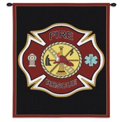 Firefighter Shield Wall Tapestry