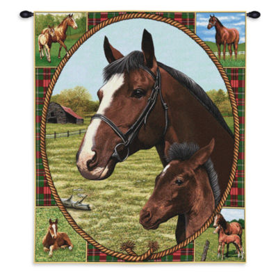 Thoroughbred Mare and Foal Wall Tapestry