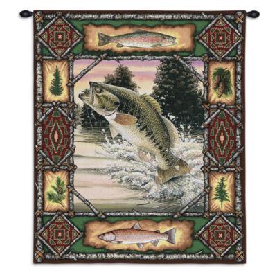 Fish Lodge Bass Wall Tapestry