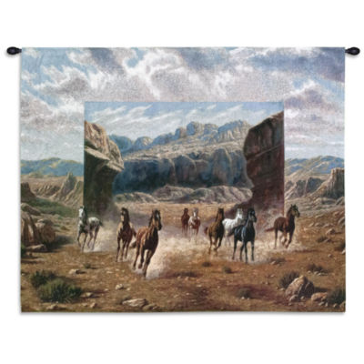 Running Horses Small Wall Tapestry