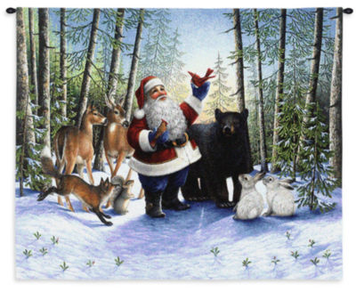 Santa In The Forest Wall Tapestry