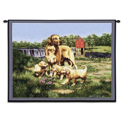 Golden Retriever with Puppies Wall Tapestry