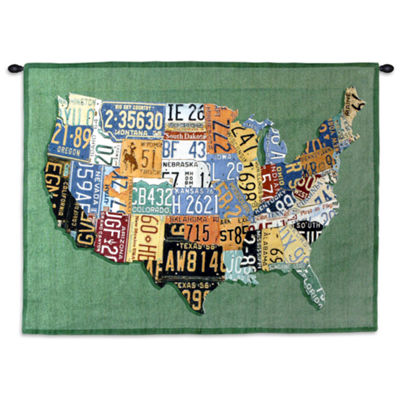 USA Tags Small Wall Tapestry