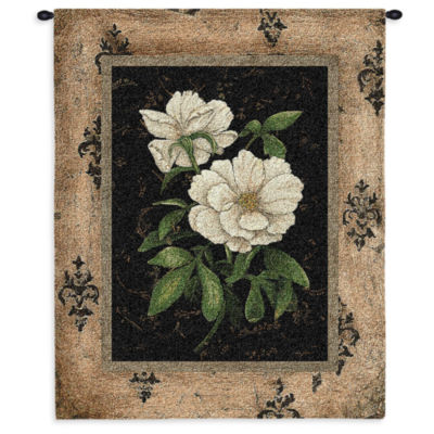 Silver Peony Wall Tapestry