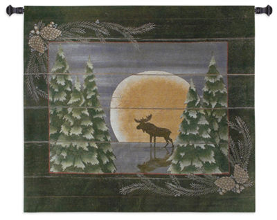 Moonlight Moose Small Wall Tapestry