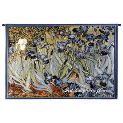 Irises With Inspiration Wall Tapestry