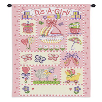 It's A Girl Wall Tapestry