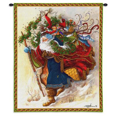 Windswept Santa Wall Tapestry